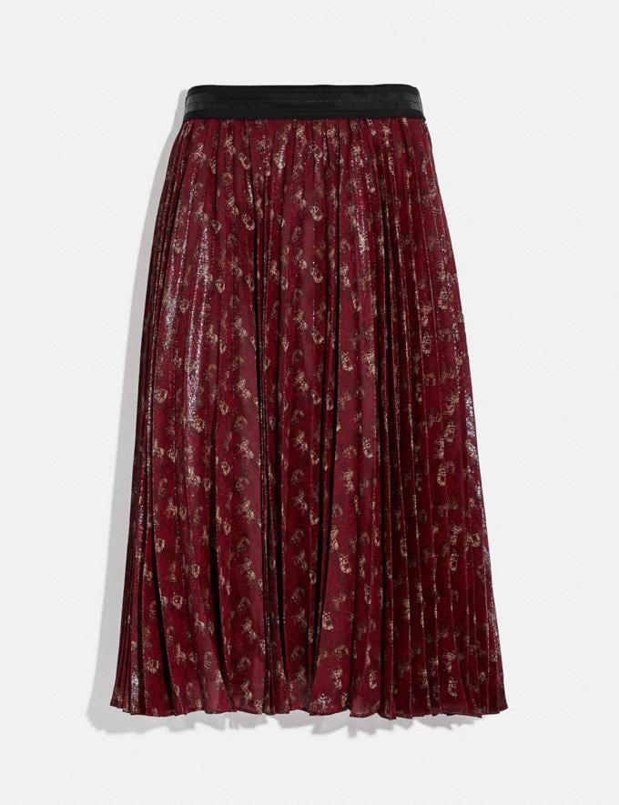 Coach Lunar New Year Horse and Carriage Print Pleated Skirt Red