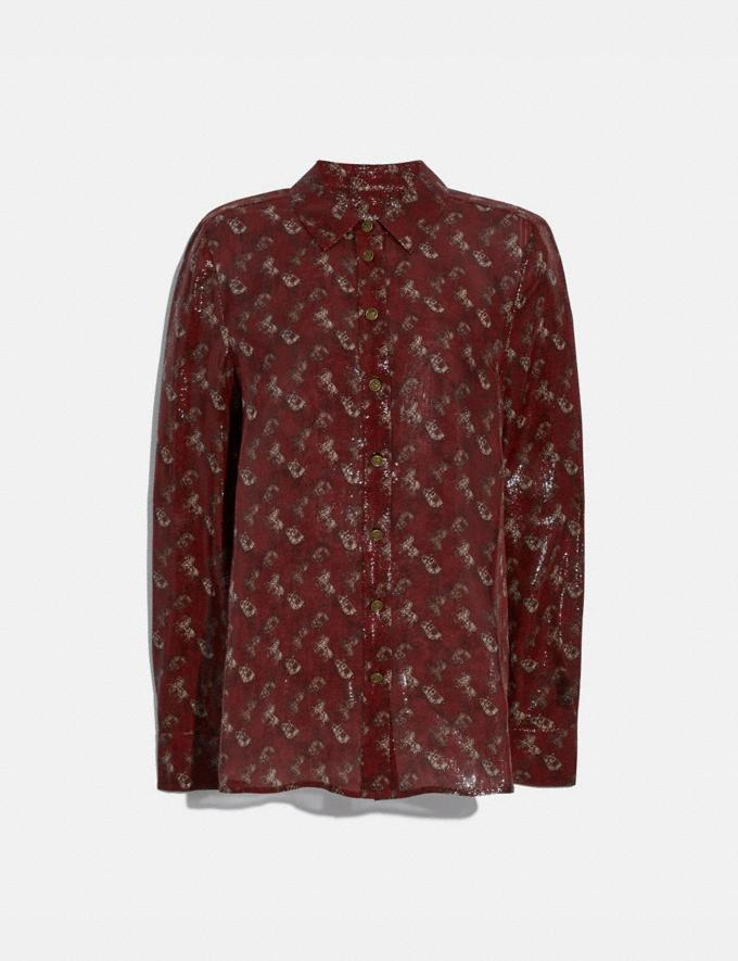 Coach Lunar New Year Horse and Carriage Print Shirt Red Women Ready-to-Wear Tops & T-shirts