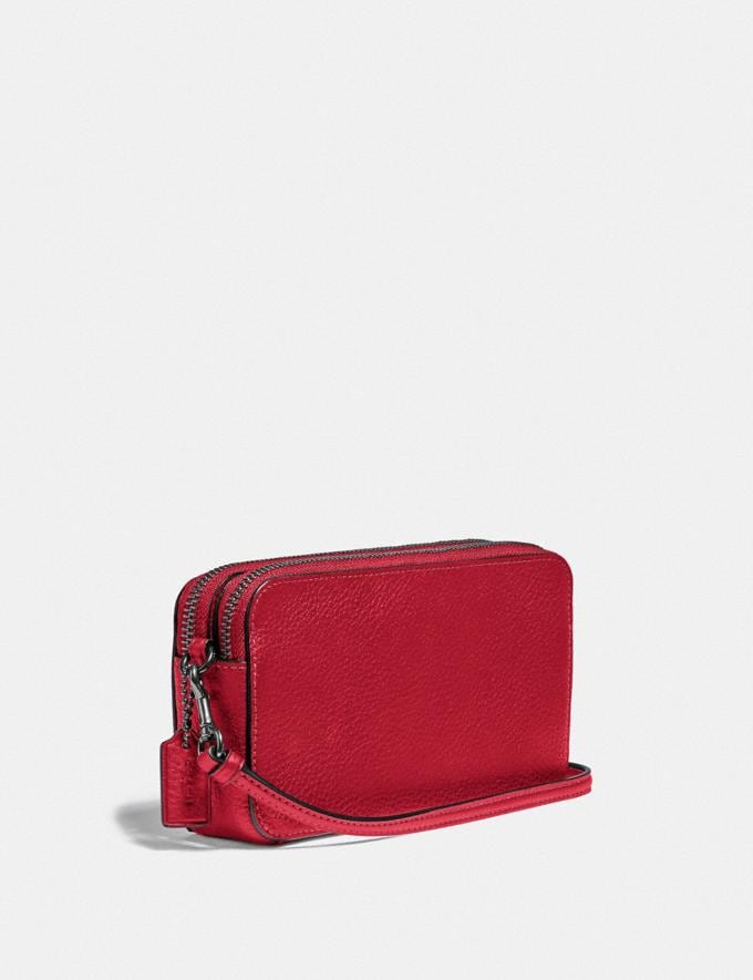 Coach Kira Crossbody Pewter/Red Apple Women Small Leather Goods Crossbody Wallets Alternate View 1