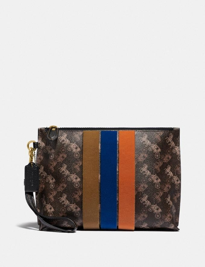 Coach Charlie Pouch With Horse and Carriage Print and Varsity Stripe Brass/Brown Black VIP SALE Women's Sale Wallets & Wristlets