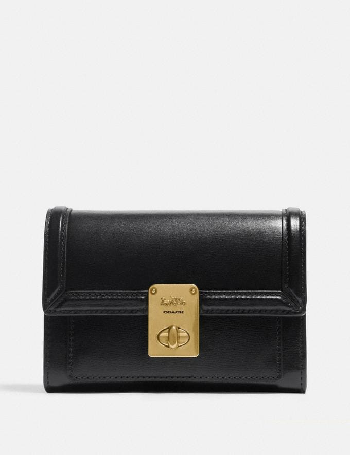 Coach Hutton Wallet Brass/Black New Women's New Arrivals Wallets & Wristlets