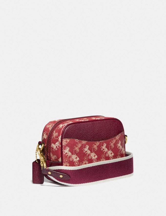 Coach Lunar New Year Camera Bag 16 With Horse and Carriage Print and Varsity Stripe Brass/Red Deep Red New Women's New Arrivals Collection Alternate View 2