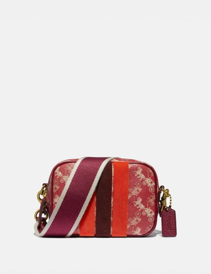 Coach Lunar New Year Camera Bag 16 With Horse and Carriage Print and Varsity Stripe Brass/Red Deep Red New Women's New Arrivals Collection