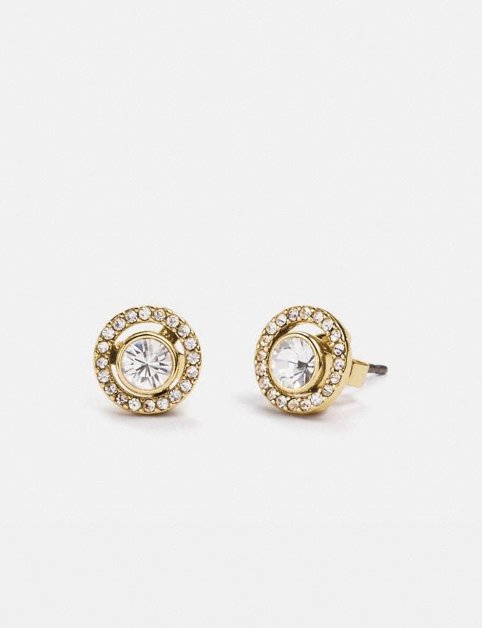 Coach Pave Ring 2-In-1 Stud Earrings Gold/Clear Gifts For Her Under $300