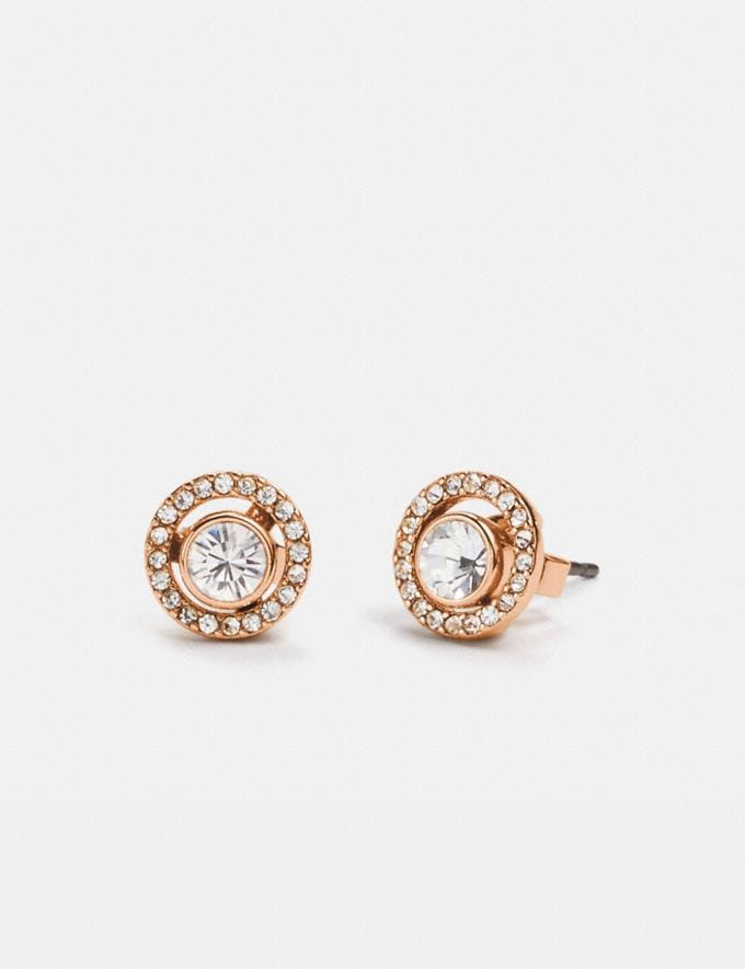 Coach Pave Ring 2-In-1 Stud Earrings Rose Gold/Clear Gifts For Her Under $300