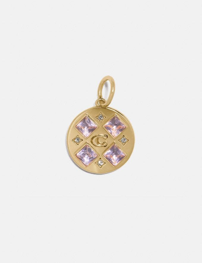 Coach Collectible Crystal Signature Disc Charm Gold/Pink Women Accessories Jewelry & Watches