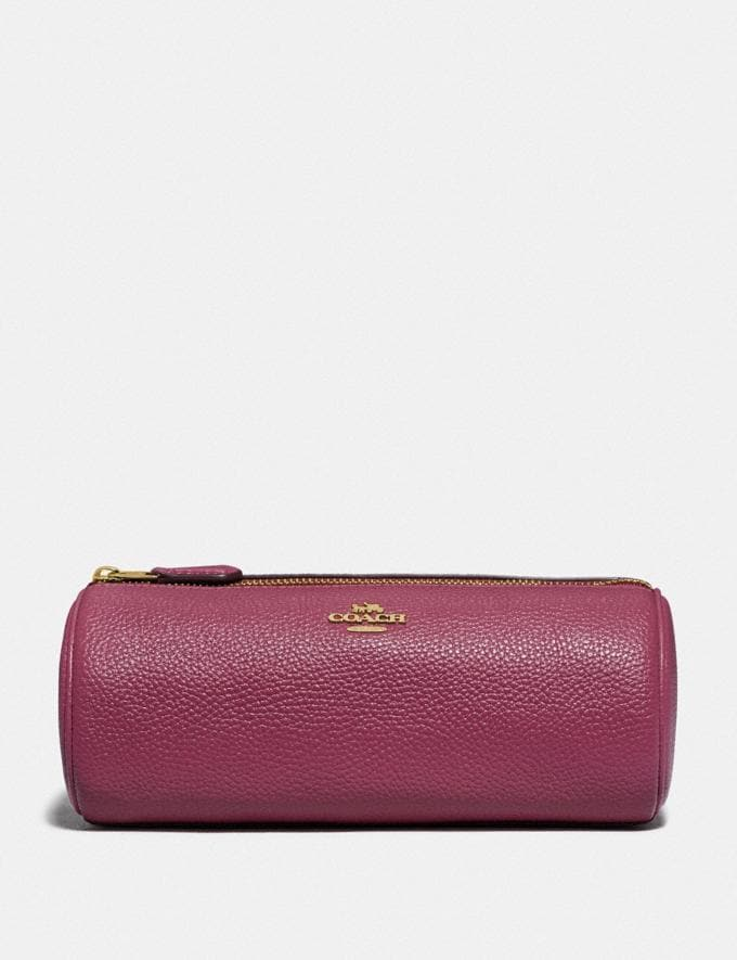 Coach Brush Pouch Gold/Dusty Pink New Women's New Arrivals Accessories