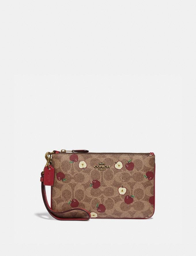 Coach Small Wristlet in Signature Canvas With Scattered Apple Print Brass/Tan Multi New Women's New Arrivals Wallets & Wristlets