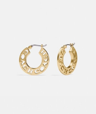 PIERCED COACH HOOP EARRINGS