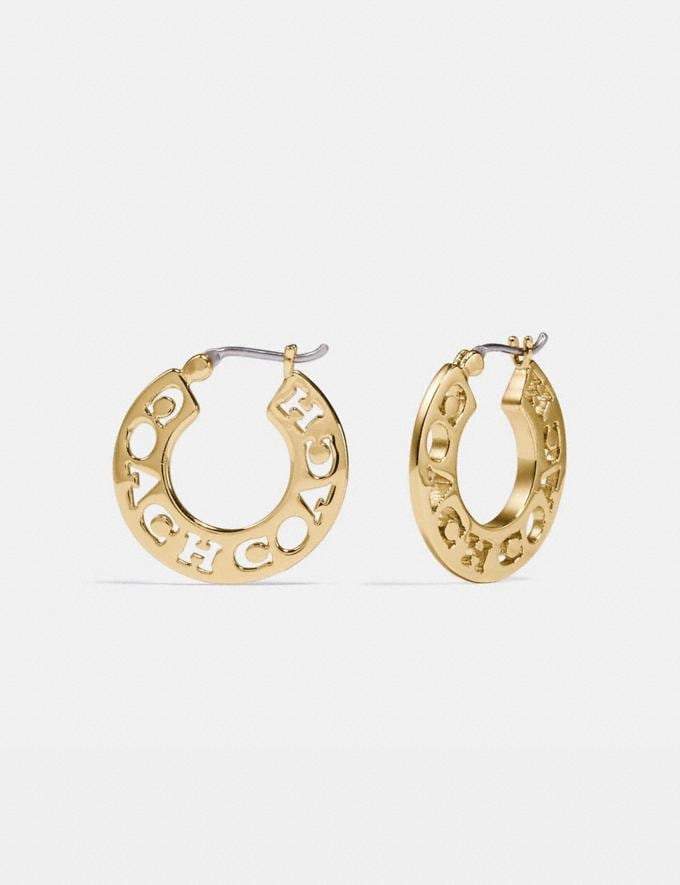 Coach Pierced Coach Hoop Earrings Gold New Women's New Arrivals