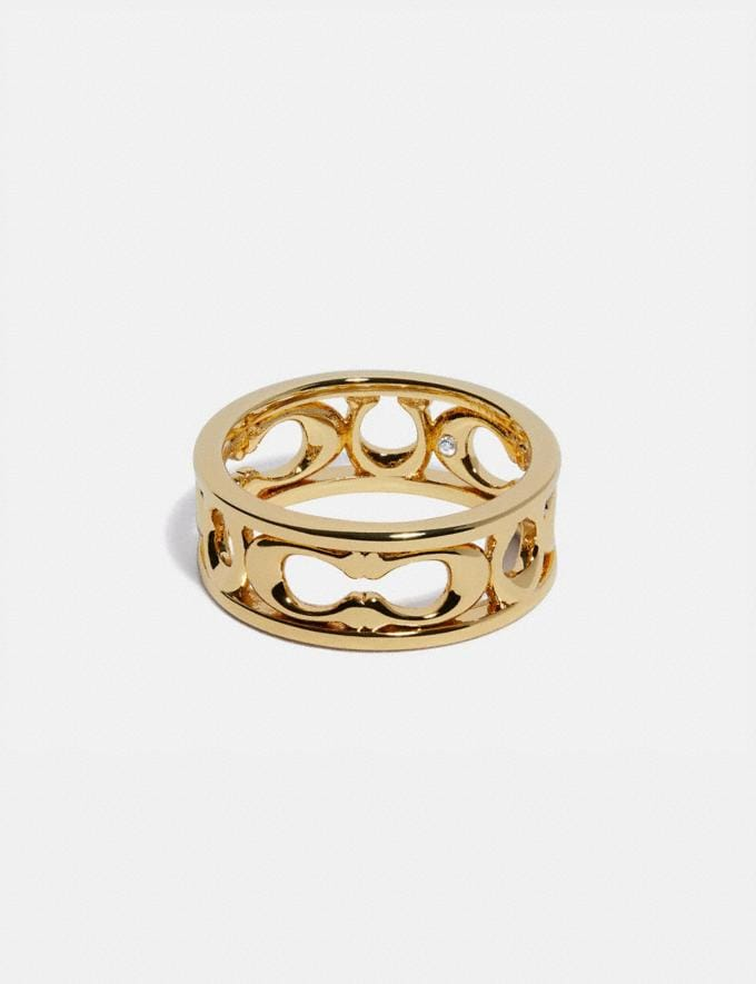 Coach Pierced Signature Ring Gold New Women's New Arrivals