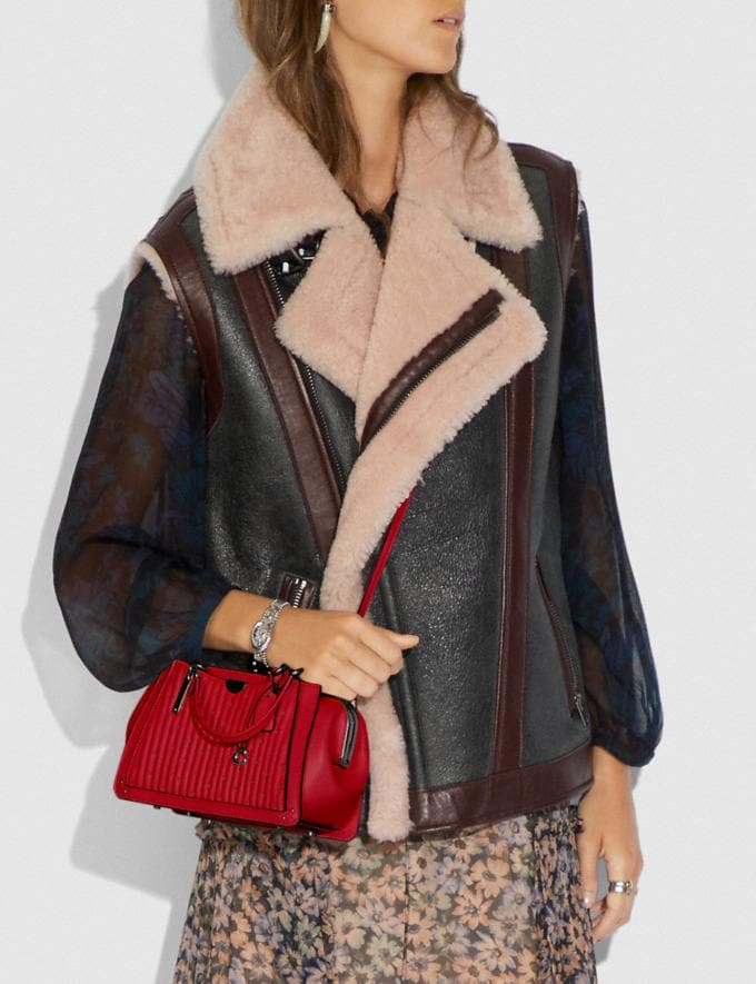 Coach Kisslock Dreamer 21 With Quilting and Rivets Pewter/Red Apple SALE Women's Sale Bags Alternate View 3