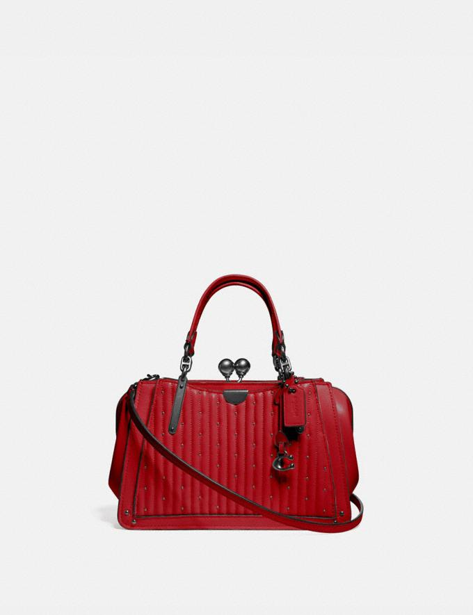 Coach Kisslock Dreamer 21 With Quilting and Rivets Pewter/Red Apple SALE Women's Sale Bags