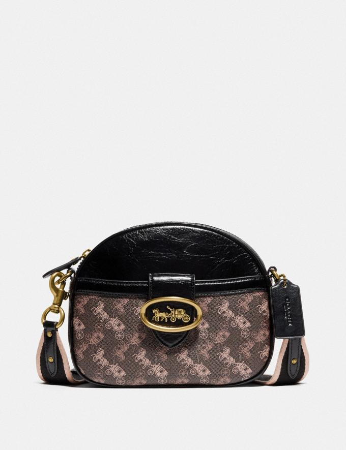 Coach Kat Crossbody With Horse and Carriage Print Brass/Brown Black