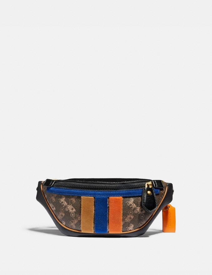 Coach Rivington Belt Bag 7 With Horse and Carriage Print and Varsity Stripe Brass/Black Brown Men Bags Belt Bags