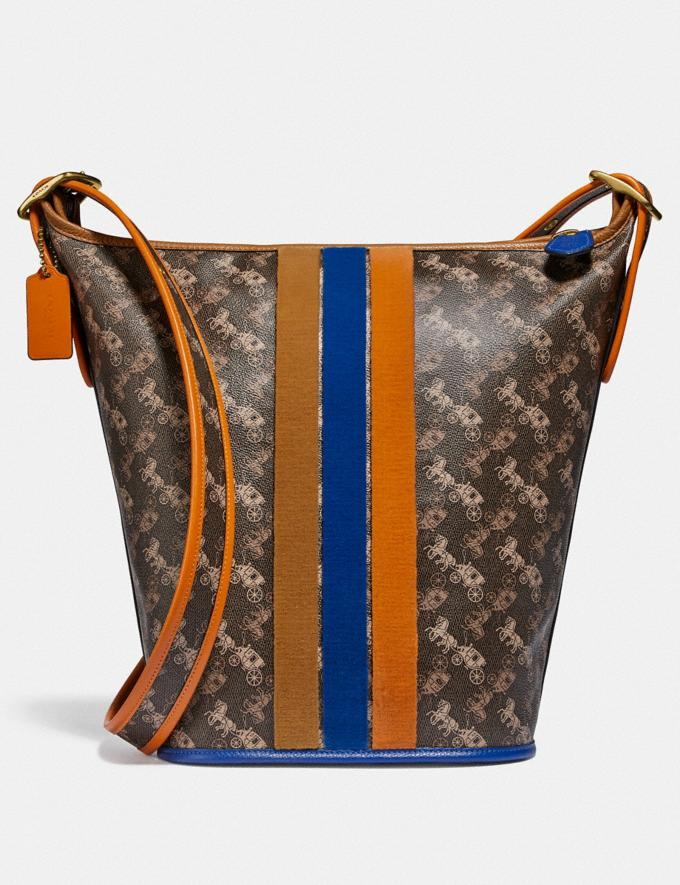Coach Duffle 24 With Horse and Carriage Print and Varsity Stripe Brass/Black Brown New Men's New Arrivals Collection