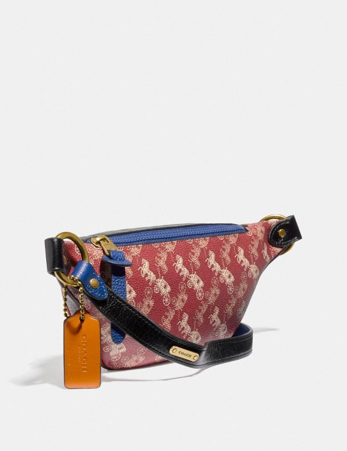 Coach Rivington Belt Bag 7 With Horse and Carriage Print Brass/Red Pink Men Bags Belt Bags Alternate View 1