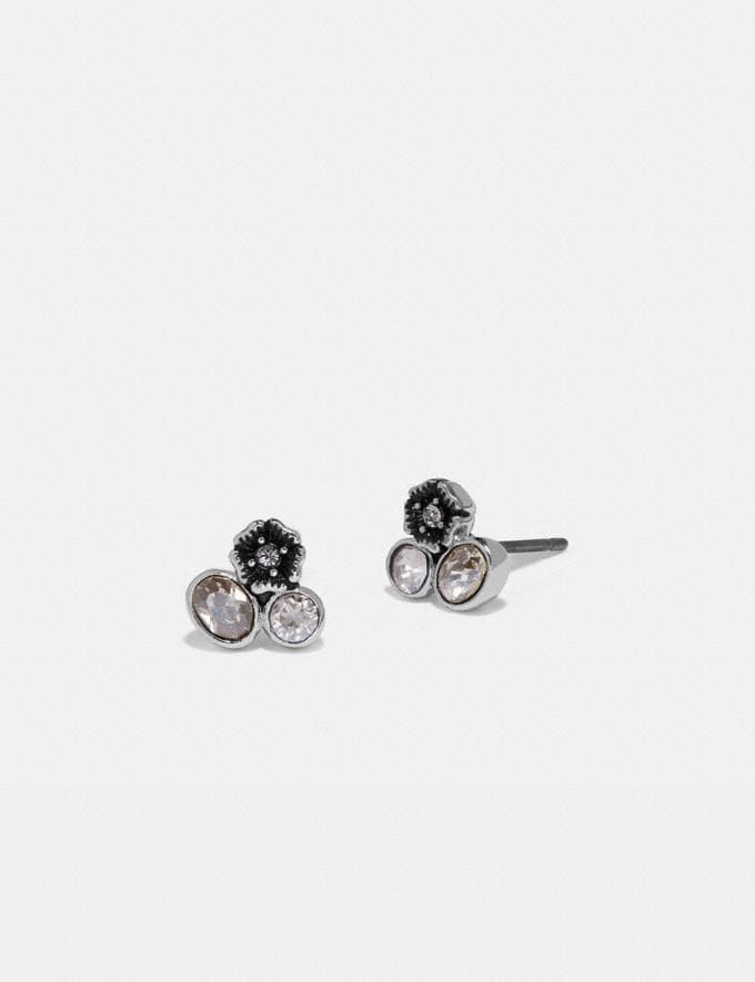 Coach Mini Tea Rose Cluster Stud Earrings Silver/Multi Women Accessories Jewelry & Watches