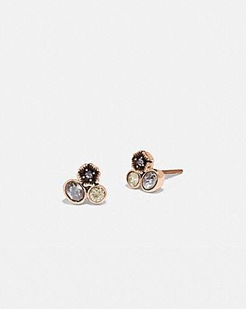 mini boucles d'oreilles grappes avec rose thé