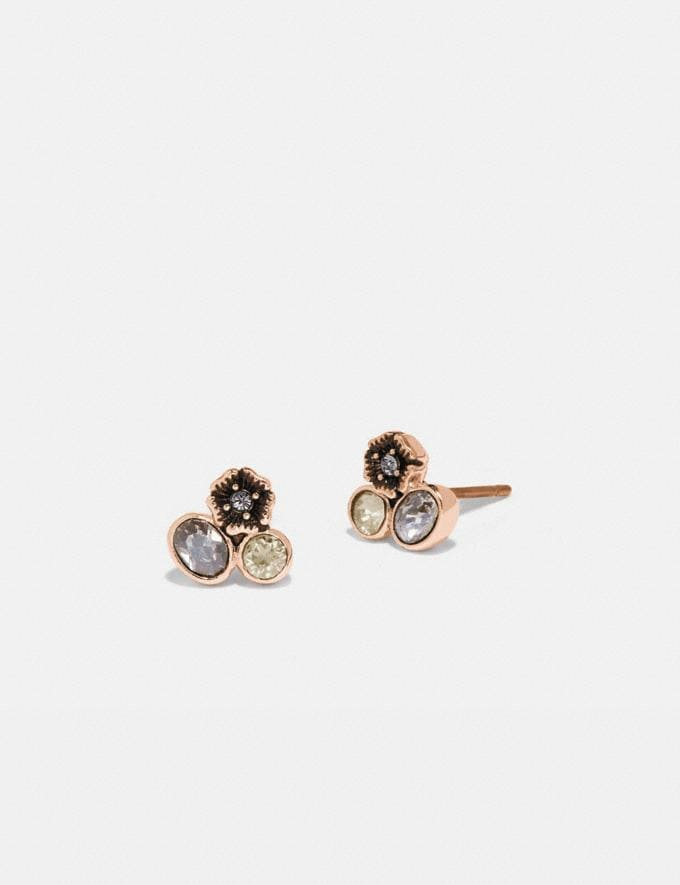 Coach Mini Tea Rose Cluster Stud Earrings Rose Gold/Multi Women Accessories Jewellery Earrings