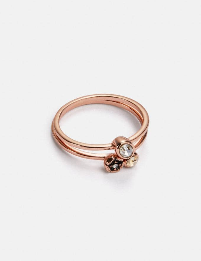 Coach Mini Tea Rose Cluster Ring Set Rose Gold/Multi Women Accessories Jewellery Rings