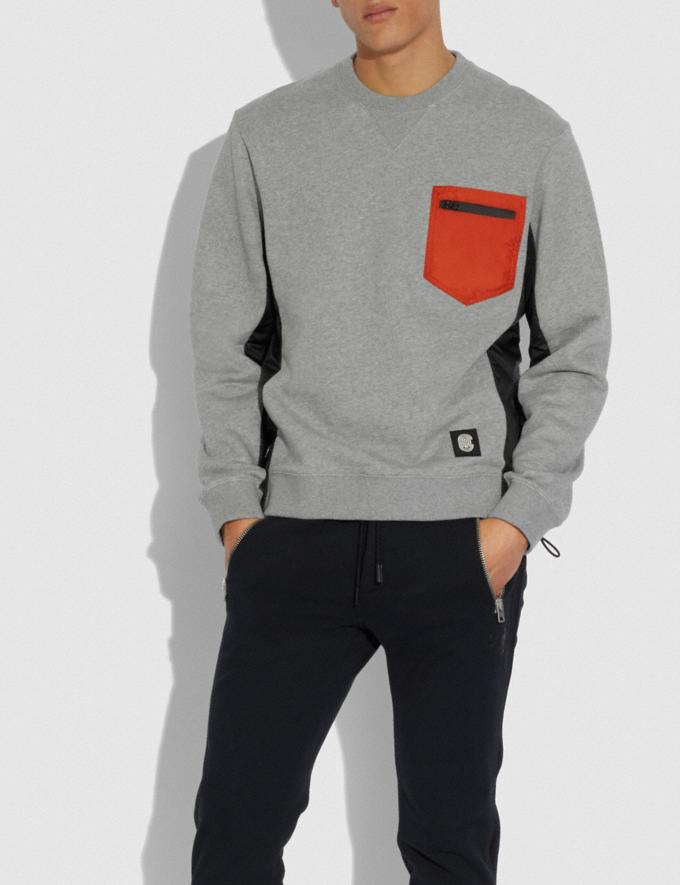Coach Nylon Sweatshirt Heather Grey/Black  Alternate View 1