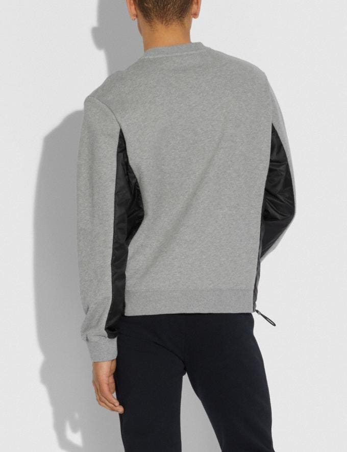 Coach Nylon Sweatshirt Heather Grey/Black New Men's New Arrivals Alternate View 2