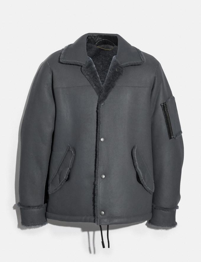 Coach Shearling Snap Front Jacket Iron