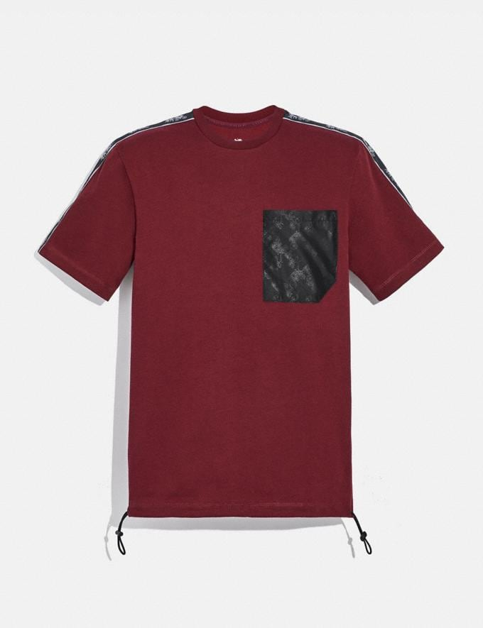 Coach Horse and Carriage Pocket T-Shirt Burgundy Men Ready-to-Wear Tops & Bottoms
