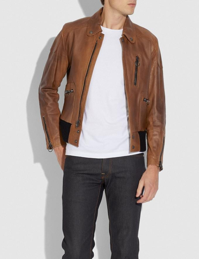 Coach Leather Biker Jacket Doe New Men's New Arrivals Collection Alternate View 1