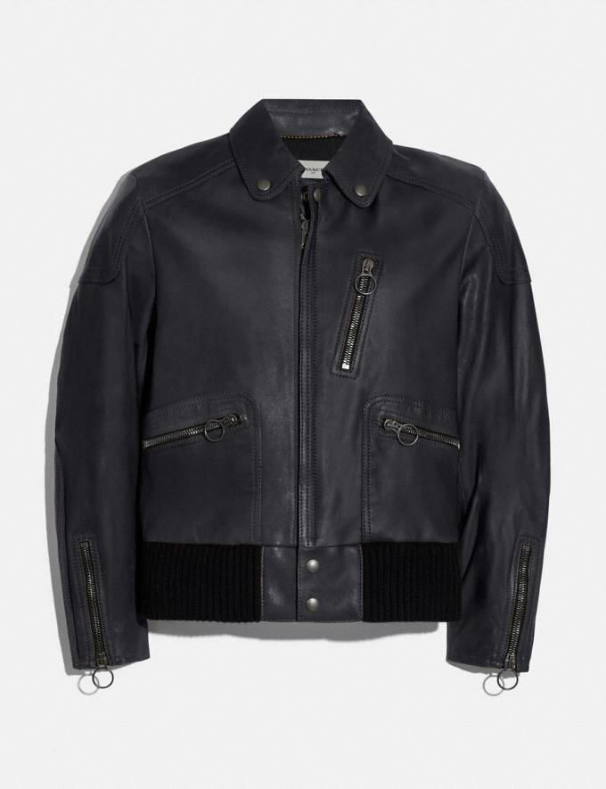Coach Leather Biker Jacket Navy Men Ready-to-Wear