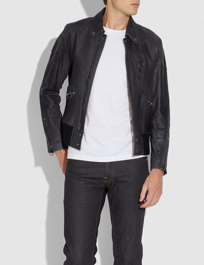 Coach Leather Biker Jacket Navy New Men's New Arrivals Ready-to-Wear Alternate View 1