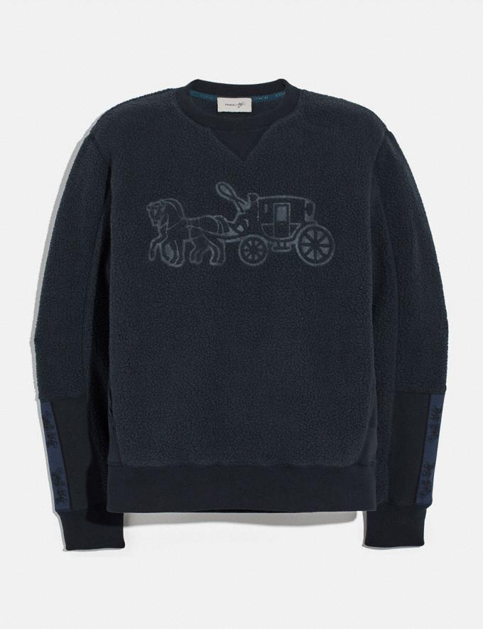 Coach Horse and Carriage Fleece Sweatshirt Deep Navy New Men's New Arrivals Ready-to-Wear