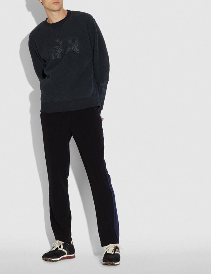 Coach Horse and Carriage Fleece Sweatshirt Deep Navy Men Ready-to-Wear Tops & Bottoms Alternate View 1