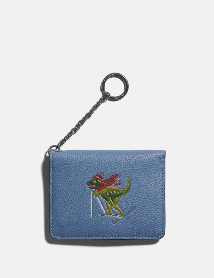 Coach Key Ring Card Case With Rexy Gunmetal/Stone Blue Women Small Leather Goods Card Cases