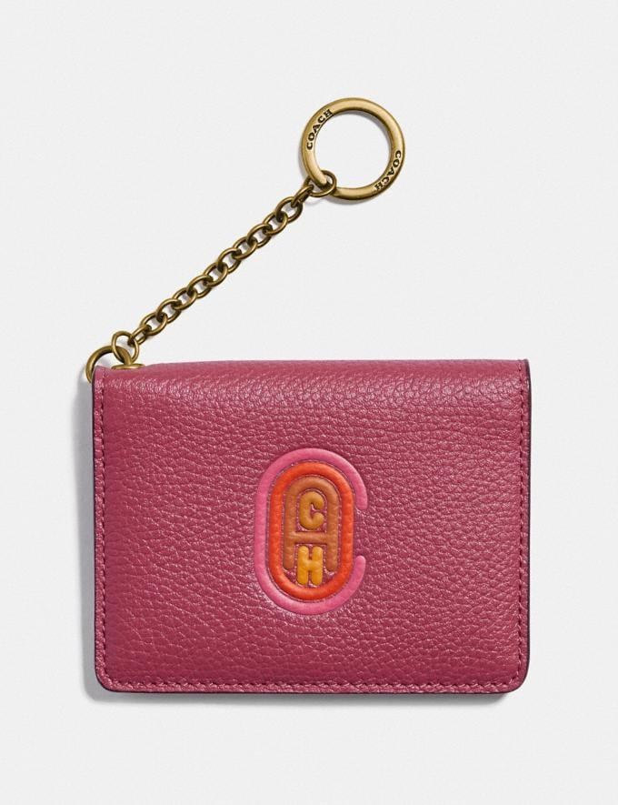 Coach Key Ring Card Case With Coach Patch Brass/Dusty Pink Women Wallets & Wristlets Small Wallets