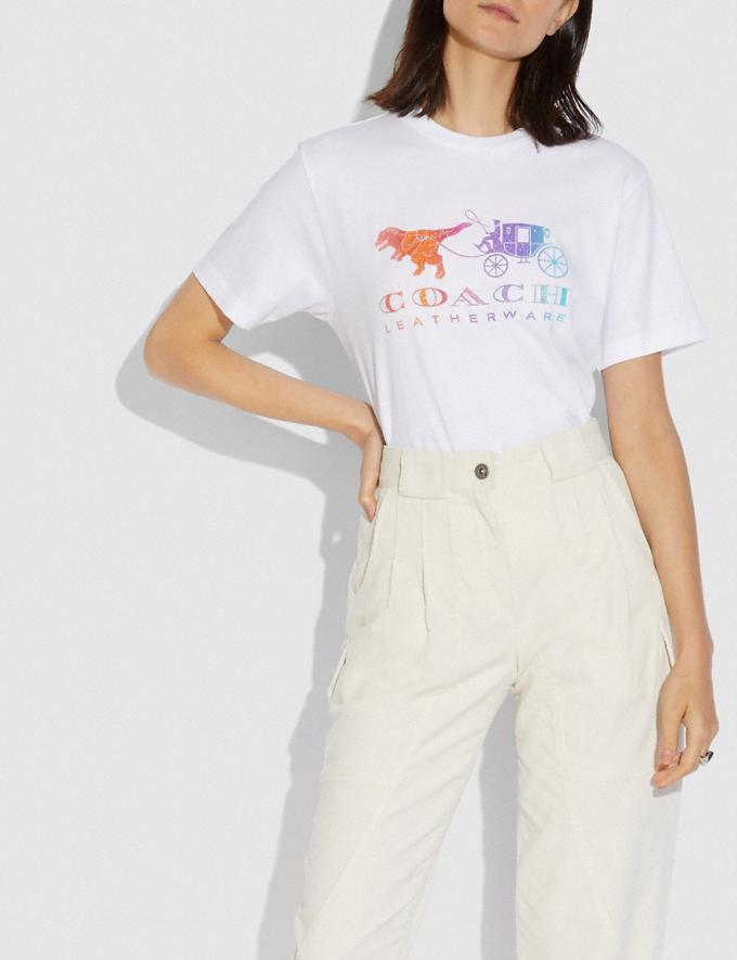 Coach Rainbow Rexy and Carriage T-Shirt White Women Ready-to-Wear Tops Alternate View 1