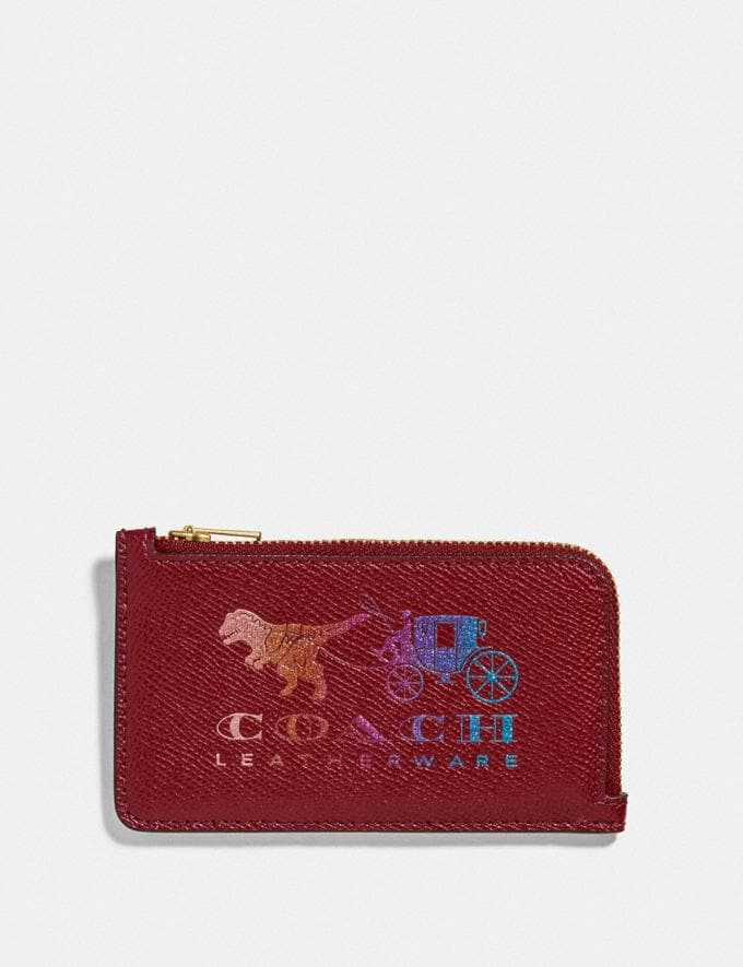 Coach Small L-Zip Card Case With Rexy and Carriage Brass/Deep Red New Featured Rexy Collection