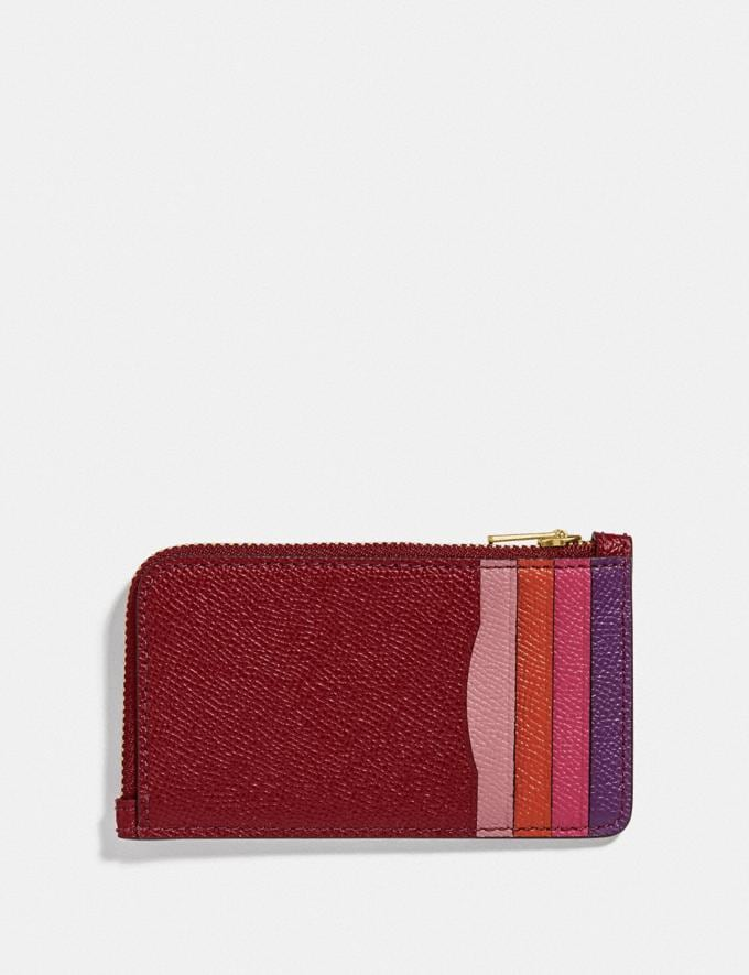 Coach Small L-Zip Card Case With Rexy and Carriage Brass/Deep Red Women Wallets & Wristlets Card Cases Alternate View 1