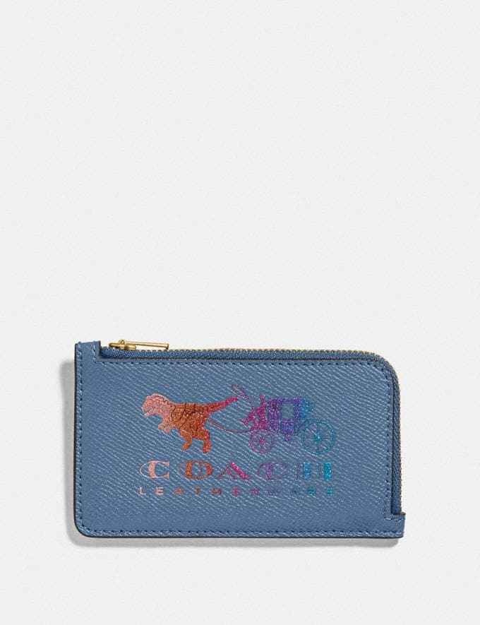 Coach Small L-Zip Card Case With Rexy and Carriage Stone Blue/Brass New Featured Rexy Collection