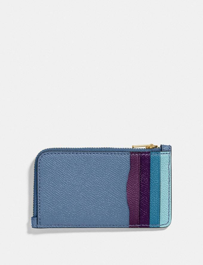 Coach Small L-Zip Card Case With Rexy and Carriage Stone Blue/Brass New Featured Rexy Collection Alternate View 1