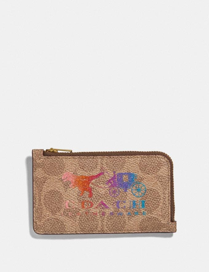 Coach Small L-Zip Card Case in Signature Canvas With Rexy and Carriage Brass/Tan Multi Women Wallets & Wristlets Card Cases