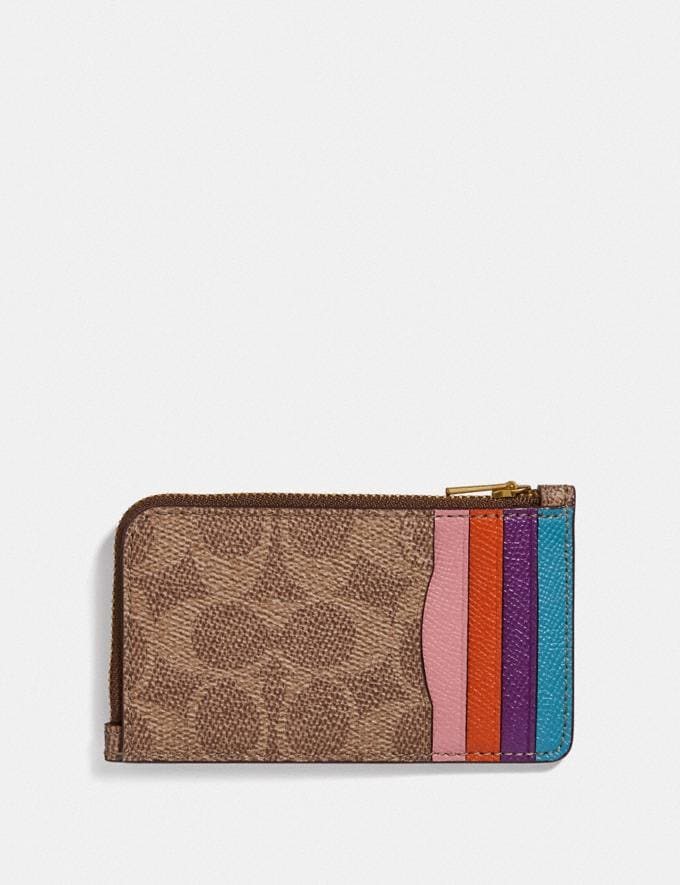 Coach Small L-Zip Card Case in Signature Canvas With Rexy and Carriage Brass/Tan Multi Women Wallets & Wristlets Card Cases Alternate View 1