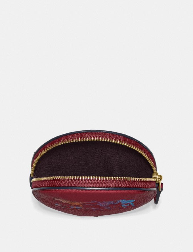 Coach Round Coin Case With Rexy and Carriage Brass/Deep Red New Featured Rexy Collection Alternate View 2