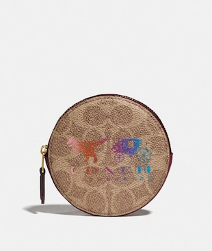 ROUND COIN CASE IN SIGNATURE CANVAS WITH REXY AND CARRIAGE