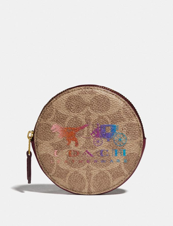 Coach Round Coin Case in Signature Canvas With Rexy and Carriage Brass/Tan Deep Red New Featured Rexy Collection