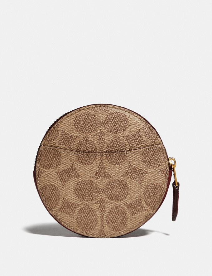 Coach Round Coin Case in Signature Canvas With Rexy and Carriage Brass/Tan Deep Red New Featured Rexy Collection Alternate View 1