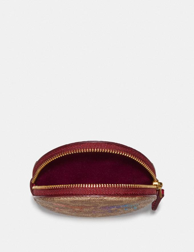 Coach Round Coin Case in Signature Canvas With Rexy and Carriage Brass/Tan Deep Red New Featured Rexy Collection Alternate View 2