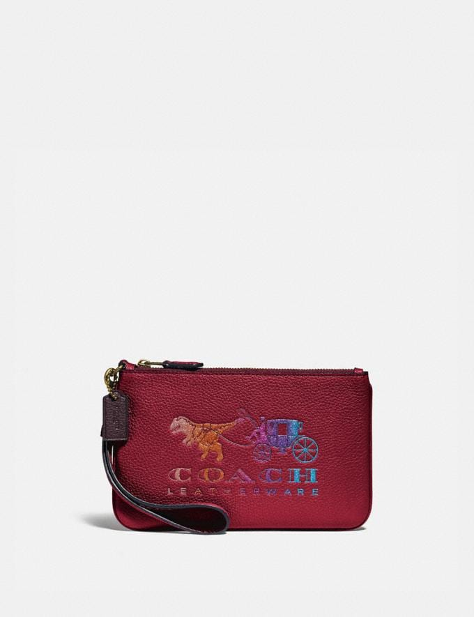 Coach Small Wristlet With Rexy and Carriage Brass/Deep Red New Women's New Arrivals Wallets & Wristlets