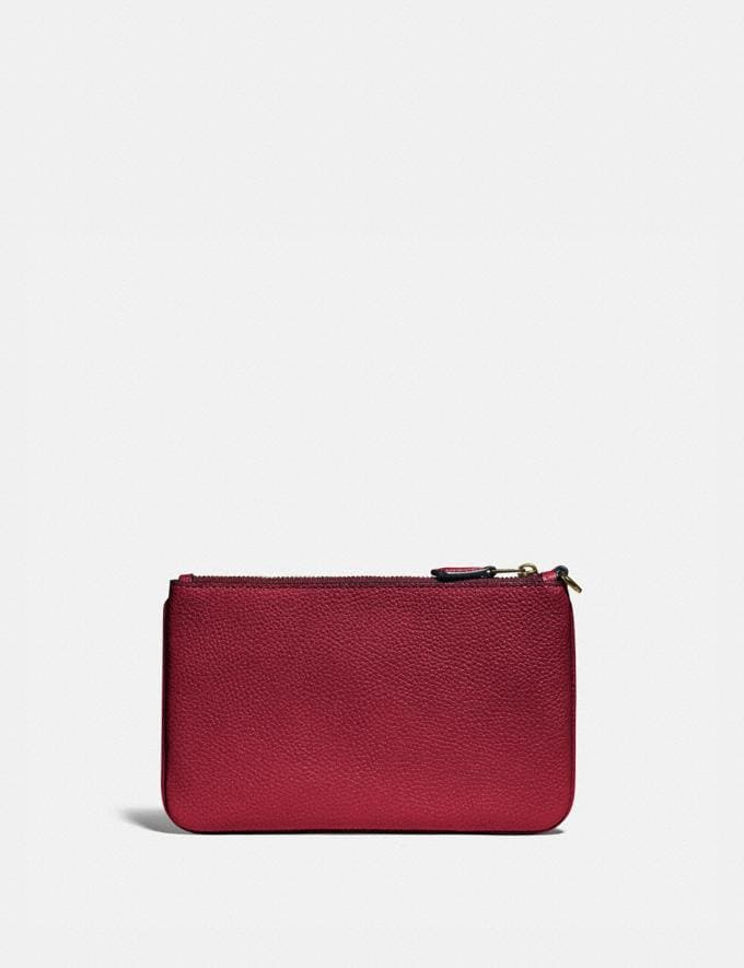 Coach Small Wristlet With Rexy and Carriage Brass/Deep Red New Featured Rexy Collection Alternate View 1